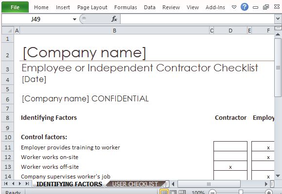 Employee Or Independent Contractor Checklist For Excel - employee or independant contractor