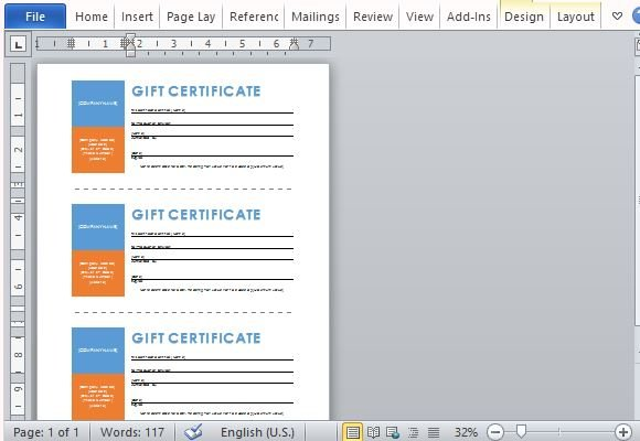 Printable Gift Certificates Template For Word - Printable Gift Certificate Template