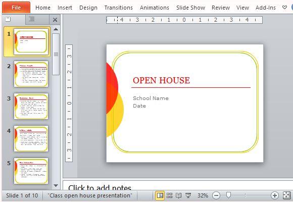 Classroom Open House PowerPoint Template - open house powerpoint template