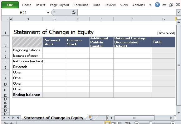 Statement Of Change in Equity Template For Excel - accounting forms in excel