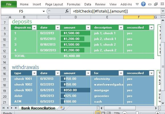 Monthly Bank Reconciliation Template For Excel - monthly financial report excel template