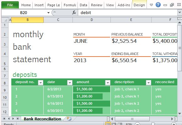 Monthly Bank Reconciliation Template For Excel - bank reconciliation sheet