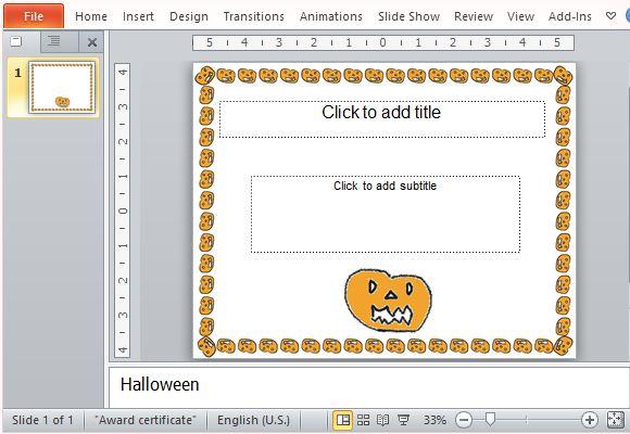Halloween Award Certificate Template For PowerPoint