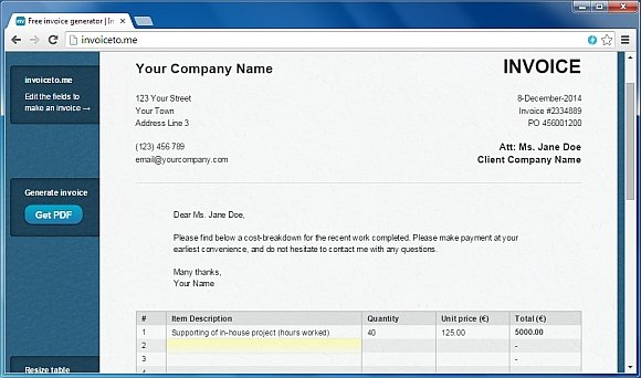 Invoice to me The Best Online Invoice Generator