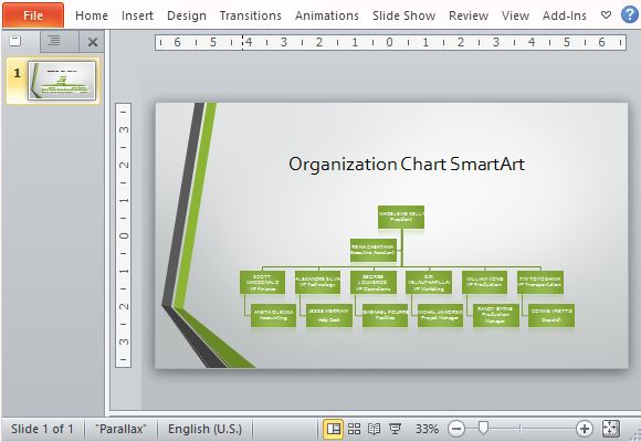 Widescreen Organizational Chart Template For PowerPoint - company chart template