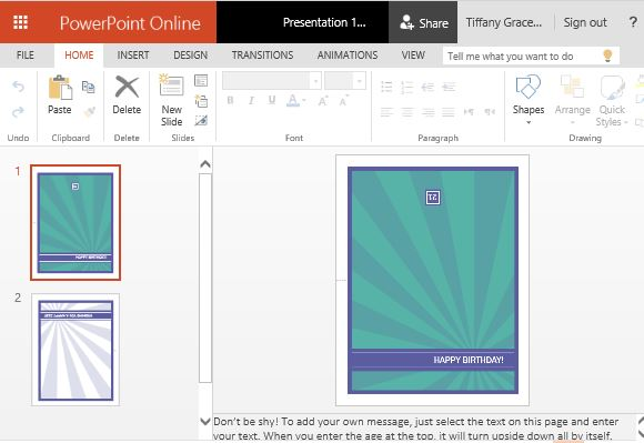 Milestone Birthday Card Template For PowerPoint Online