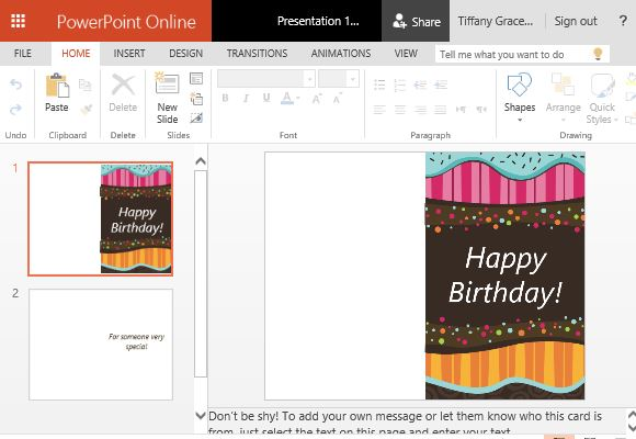 Children\u0027s Birthday Card Template For PowerPoint - template for a birthday card