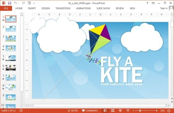 Animated Kite PowerPoint Template - kite template