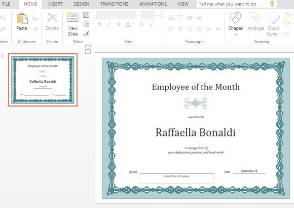 Best Certificate Templates For PowerPoint - employee certificate sample
