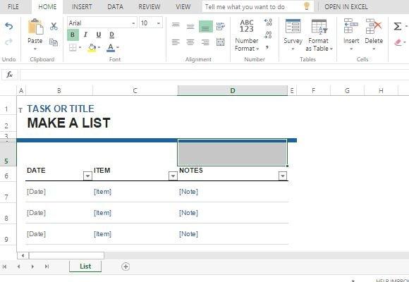 Task List Maker Template For Excel