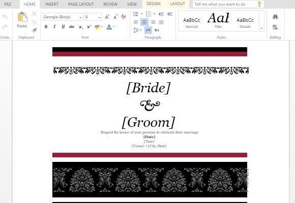 Wedding Invitations Template For Word Online - microsoft word wedding invitation templates free