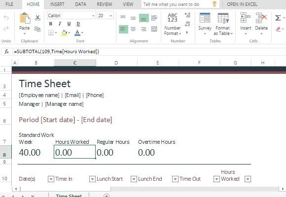 Time Sheet Template For Excel Online