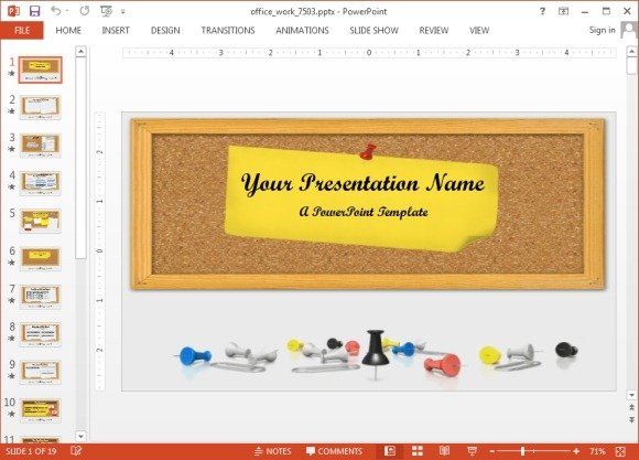 Animated Office  Schoolwork PowerPoint Template - office powerpoint template