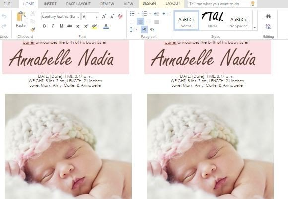 How To Make Child Birth Announcement Cards in Word - Baby Girl Birth Announcements