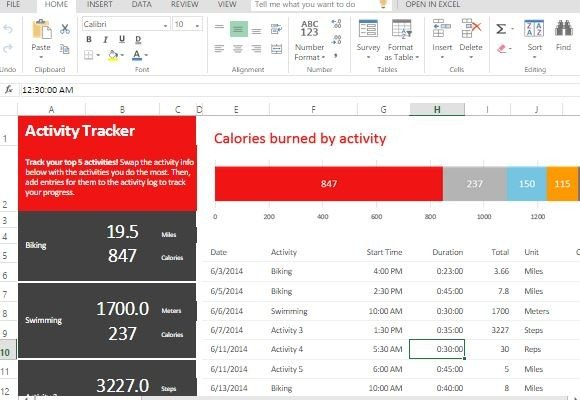 excel activity tracker