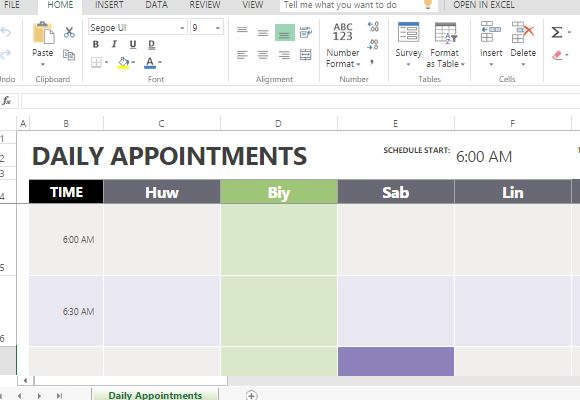 appointment scheduler template excel