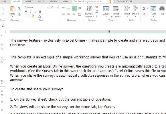 Workshop Survey Form Template For Excel