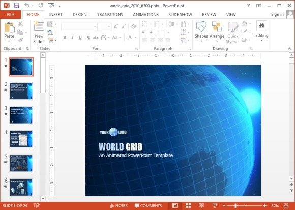 Animated World Grid PowerPoint Template