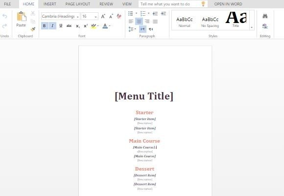 Informal Event Menu Maker Template For Word - event menu template