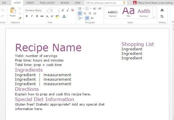 Recipe With Shopping List Template For Word - allergy list template