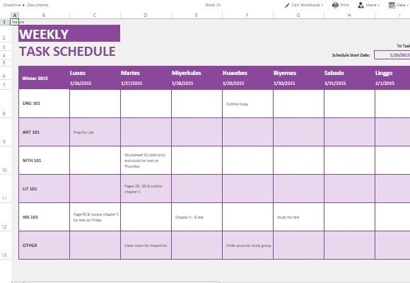 Weekly Task List Template For Excel Online