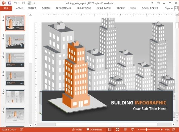 Animated Buildings Infographic PowerPoint Template - powerpoint infographic template