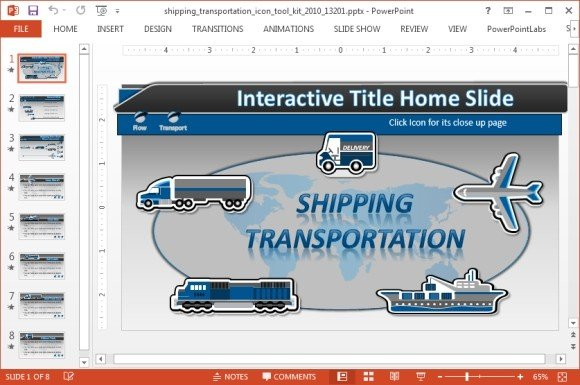 Shipping Icons PowerPoint Template - interactive powerpoint template