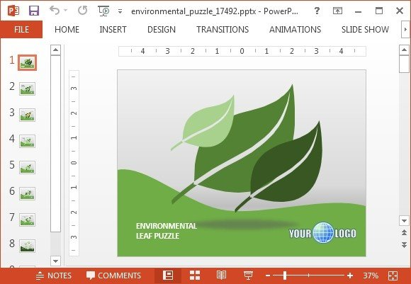Animated environmental puzzle PowerPoint template - FPPT