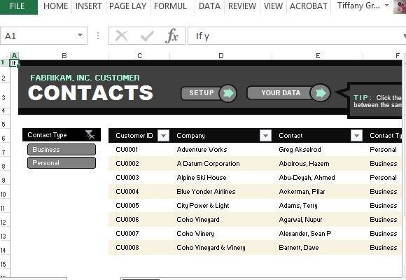 Customer Contact List Template For Excel