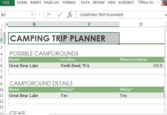 Camping Trip Planner For Excel