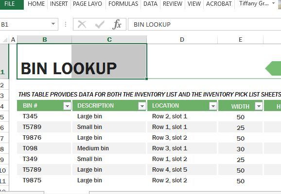 Warehouse Inventory Excel Template
