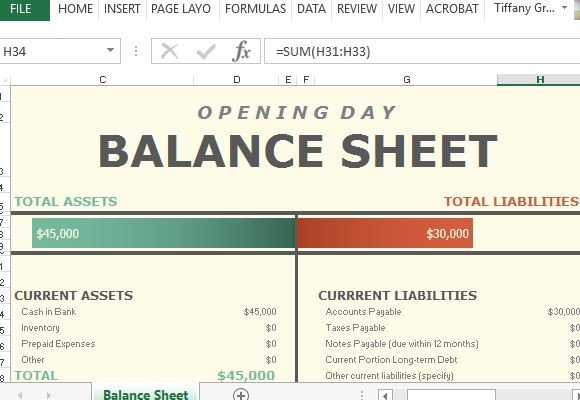 Opening Day Balance Sheet For Excel - balance sheet excel template