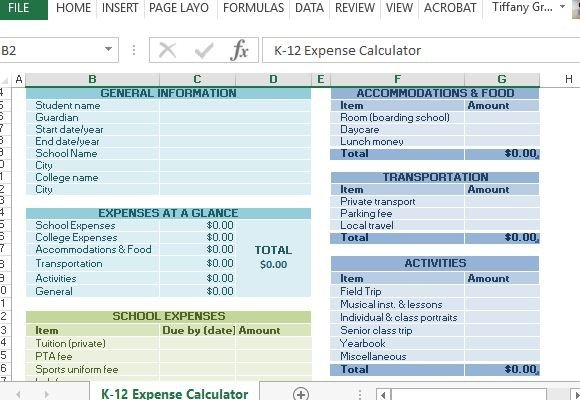 K-12 School Expense Calculator For Excel - list of expenses