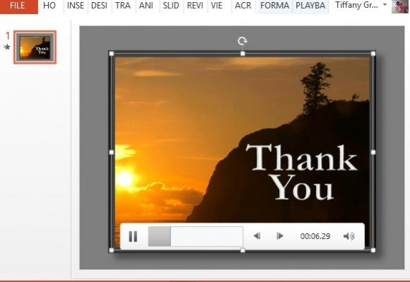 Thank You PowerPoint Template With Sunset Video