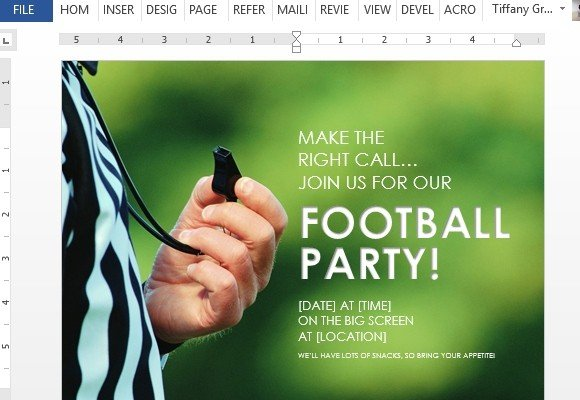 How To Create Football Party Flyer in Word - create club flyer online free