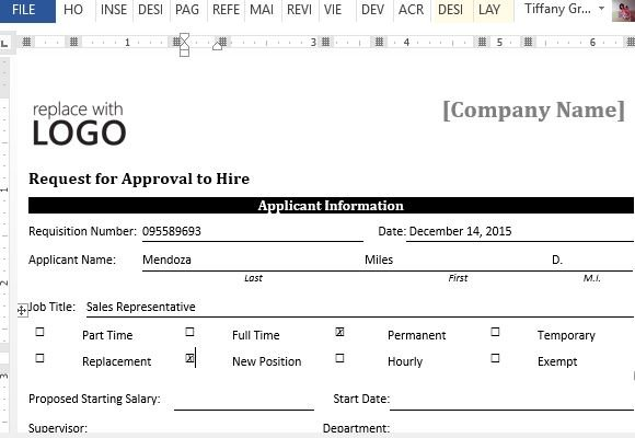 Sample Request Form For Approval To Hire For Word - information form template word