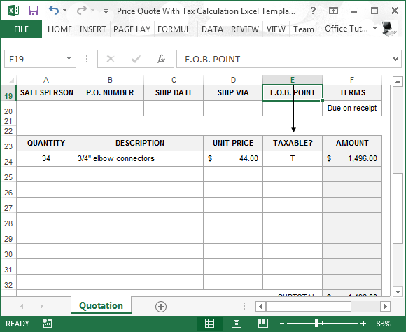 excel price quote template