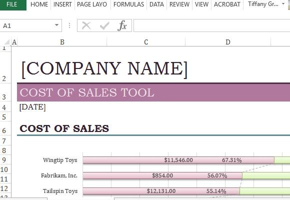 Cost Of Sales Analysis Excel Template - cost analysis template