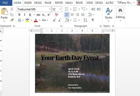 Earth Day Event Template For Word