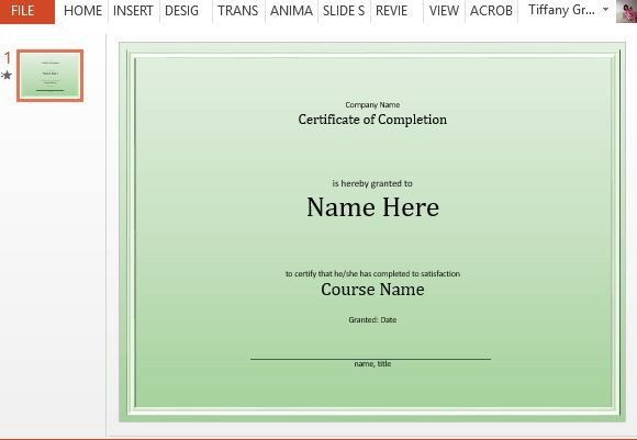 Course Completion Certificate Template for PowerPoint - powerpoint certificate template