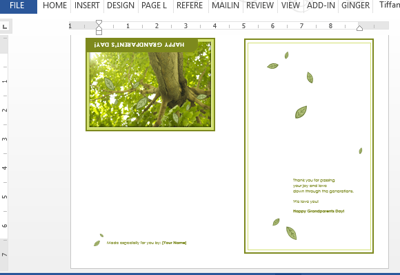 greeting card template for word