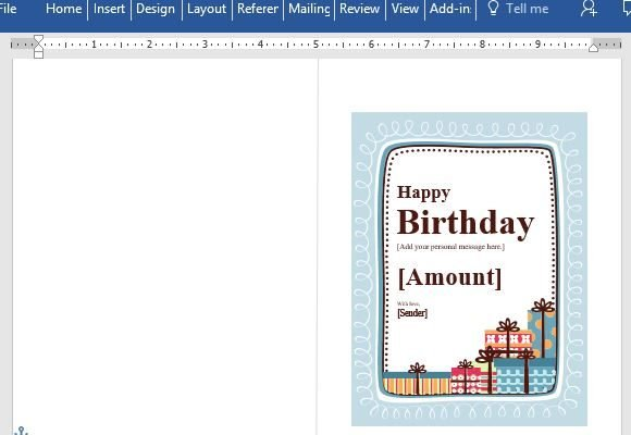 Birthday Gift Certificate Card Template For Word - gift certificate word