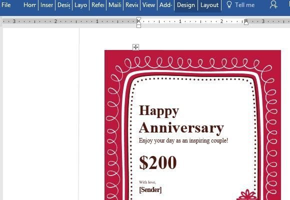 Birthday Gift Certificate Card Template For Word