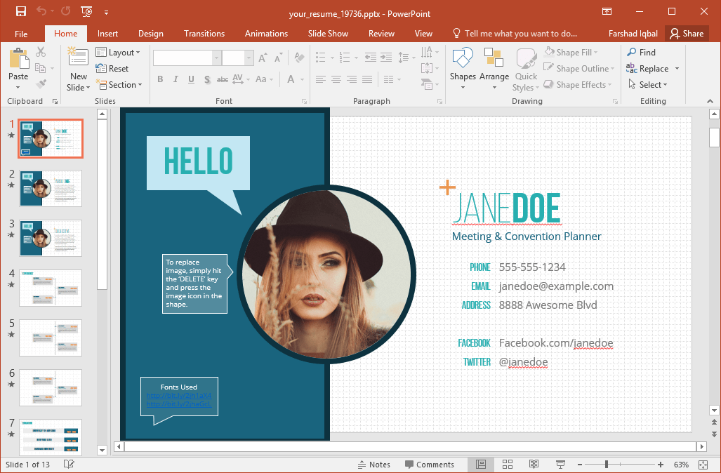 sample cv powerpoint presentation
