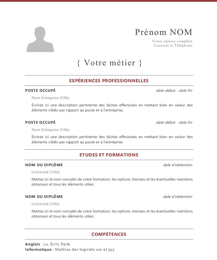 french cv template word
