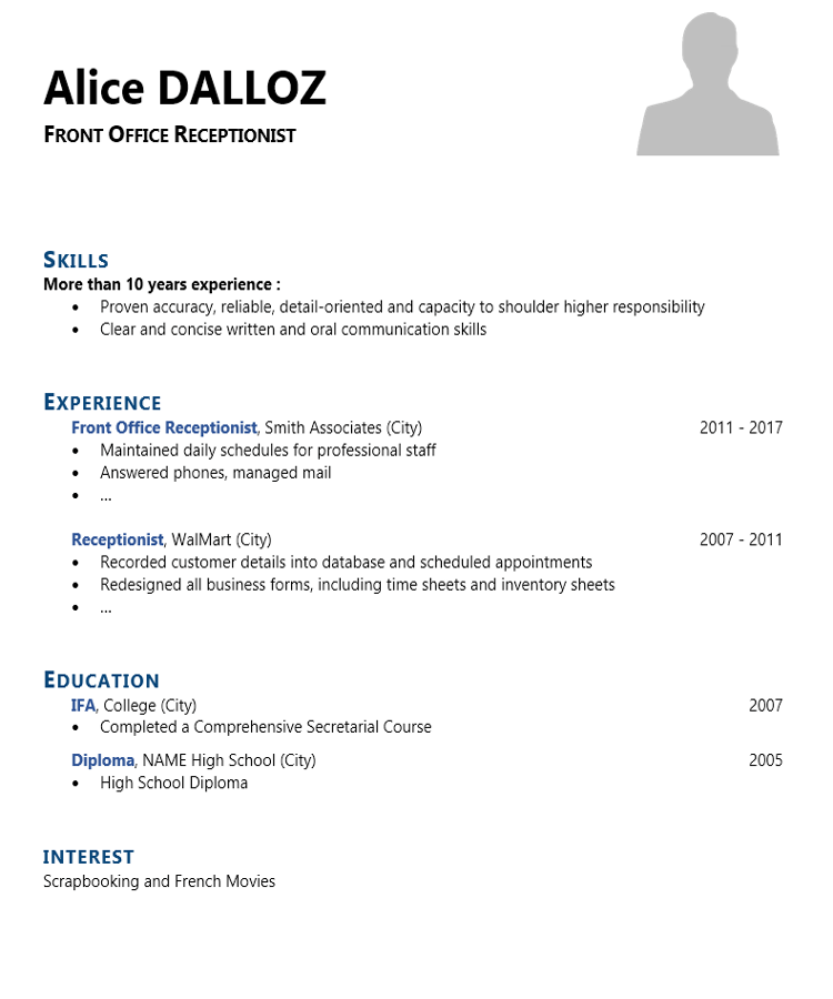 resume sample for front office receptionist