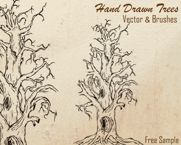 Free Hand Drawn Tree Vector Download Free Vector Art Free-Vectors