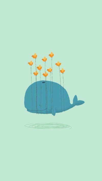 Cartoon Whale and Birds Illustration Wallpaper - Free iPhone Wallpapers