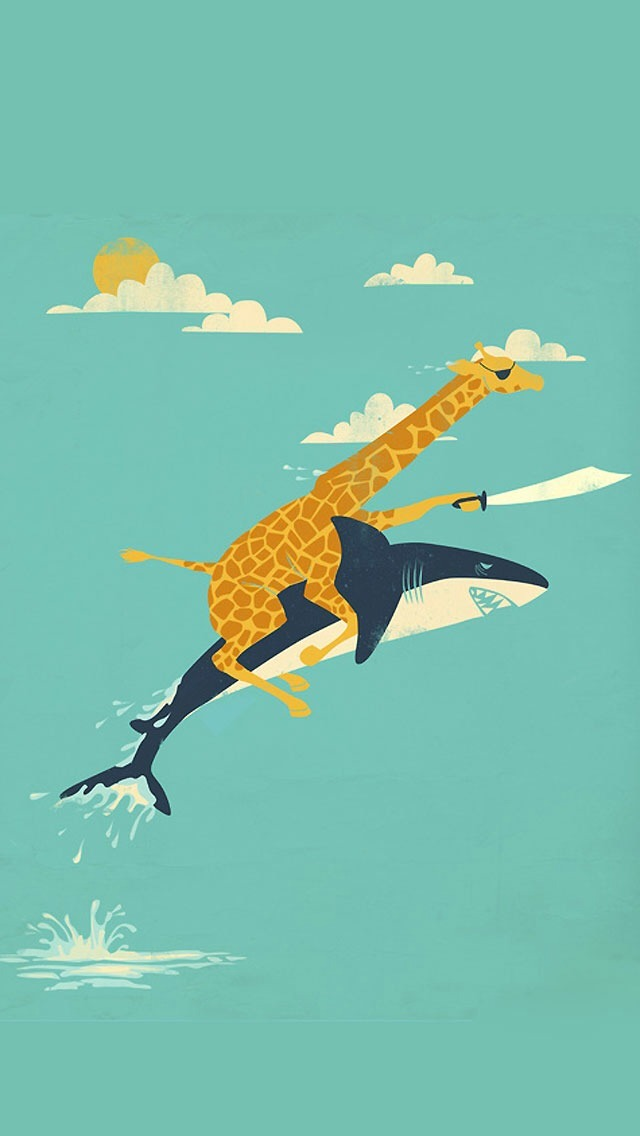 Temple Quotes Wallpaper Pc Hd Funny Giraffe And Shark Illustration Iphone 6 6 Plus And