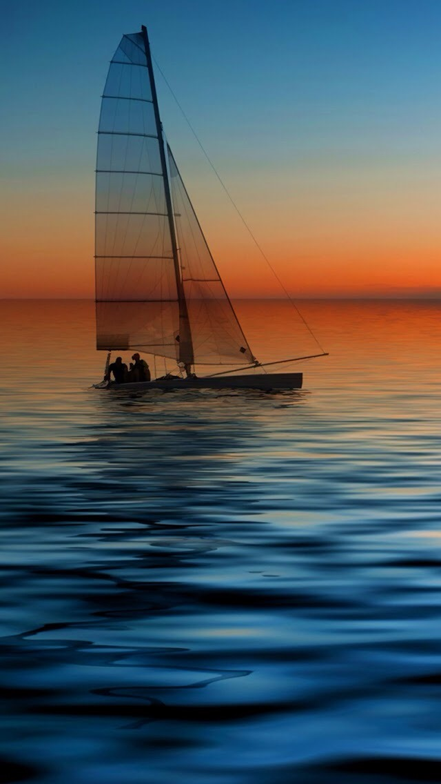 3d Effect Wallpaper For Iphone Sailboat Silhouette Iphone 6 6 Plus And Iphone 5 4